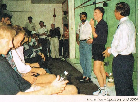 Peter Nicol (Scotland), winner of 25th Singapore Open 1994, flanked beween SSRA Vice Presidents, Munir Shah and Benny See