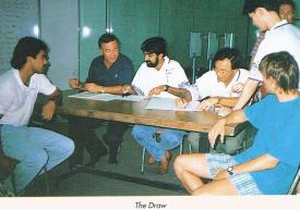 The on-site draw being finalised for the 25th Singapore Open 1994
