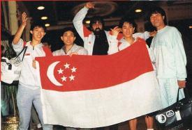 Singapore's World Men's Team in 1985, Cairo, Egypt: (L-R) Peter Hill, Anthony Chua, Munir Shah (Team Manager), Alex Tay and Zainal Abidin
