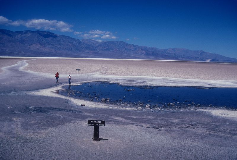 Bad Water in Death Valley - the lowest point in the western hemisphere (Photo credit: Wikimedia Commons)