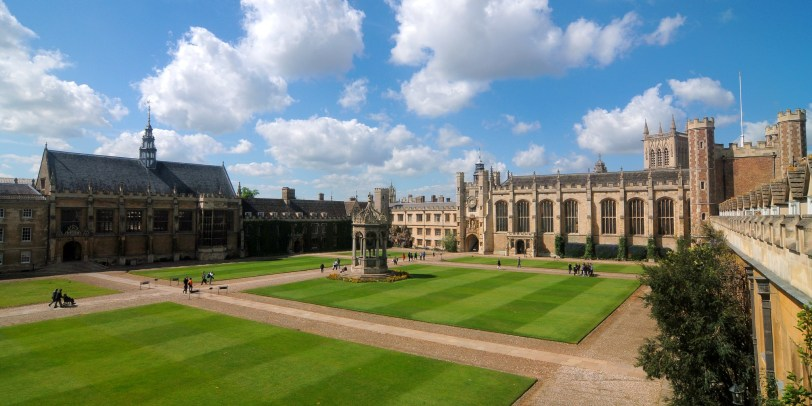 Great Court of Trinity College, Cambridge (Photo credit: Wikimedia Commons)