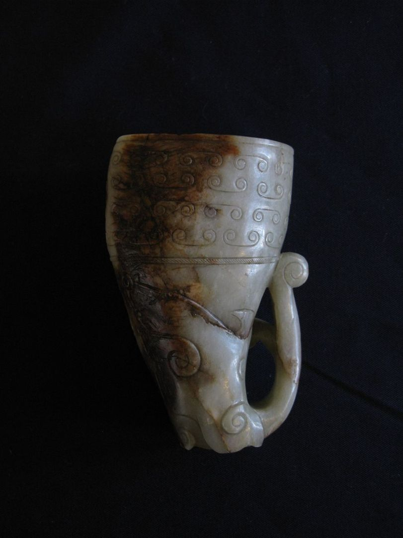 Chinese Rhyton-style cup carved from grey nephrite jade (Photo credit: Wikimedia Commons)